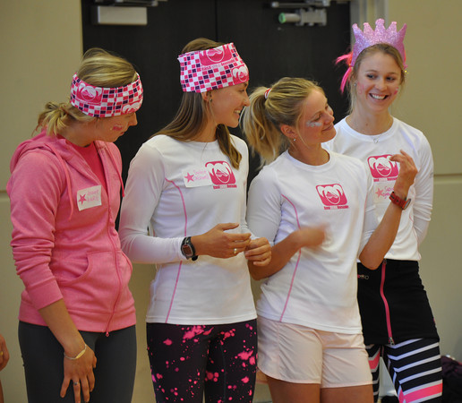 Doing a little air guitar during ambassador intros (Annie, Sophie, me, Sadie)