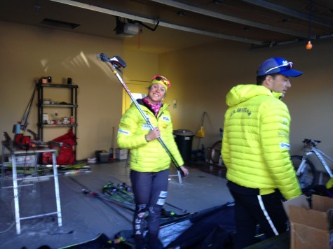Sadie loading up skis from our waxing garage