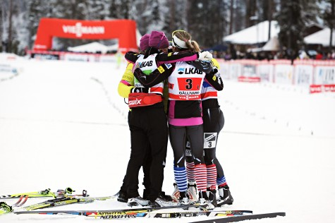 Team hug in Gallivare after the relay