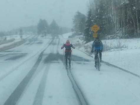 Not enough snow to ski, but enough to make roller skiing tough (photo by Dave Knoop)