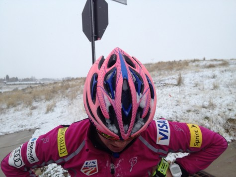 Snow-packed helmet...again! (photo from Cork)