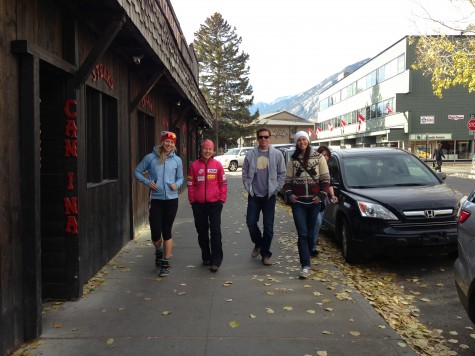 Chandra, Ida, Jared and Rosanna walking through Banff