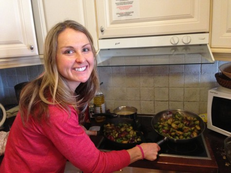 Chef Holly cooking up some brussels