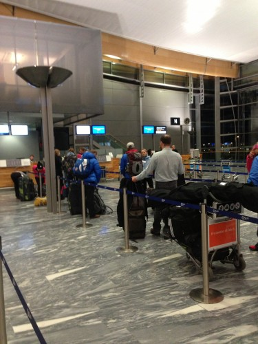A pretty common sight: the team using the entire check-in line
