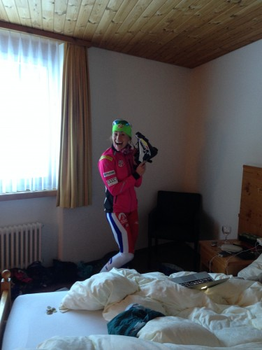 My roomie Sophie getting ready to go ski on the new Salomon boots!