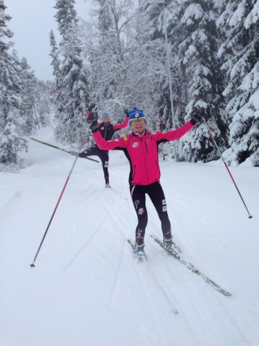 Sadie and Sophie on a really fun and beautiful training ski early in the week