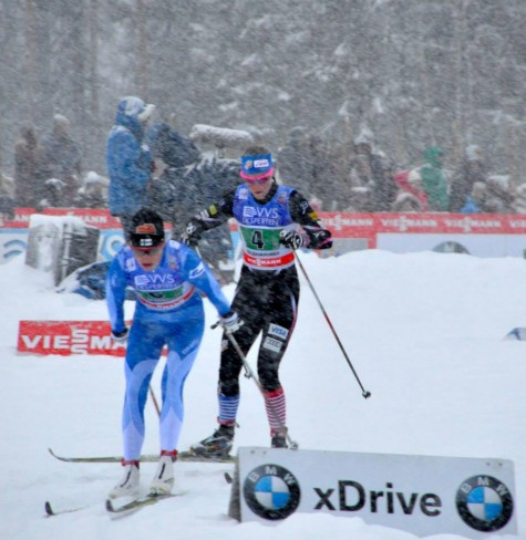 Sadie with Finland's Kyllonen in the relay (photo by Ana Robinson)