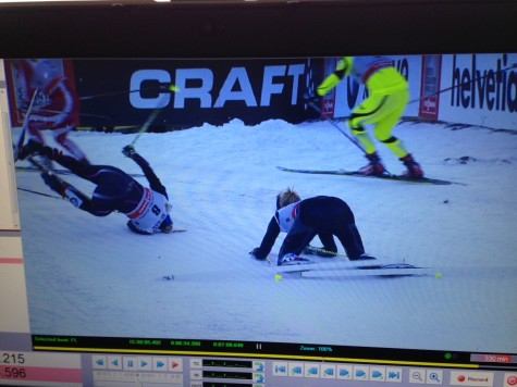 Still image from the race footage from Jeff Ellis...apparently I'm a fairly good break-dance on skis?