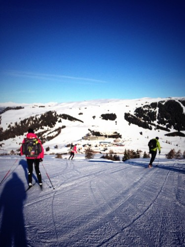 Our morning ski down the alpine hill to the vans - pretty exciting on XC skis!