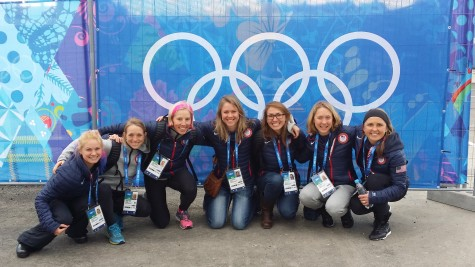 The girls team under the Olympic Rings at the Welcome Center - first day on the ground in Sochi!