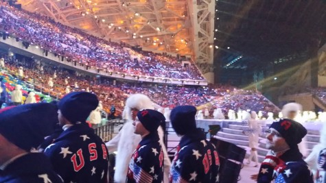 US athletes filing into the stands after our march in!