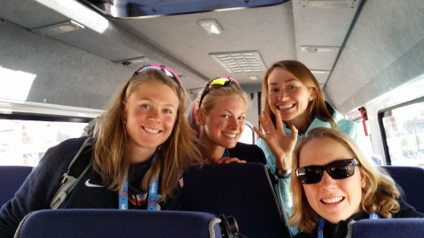 The first-time Olympians on the girls team headed out of Russia: Sadie, Me, Sophie and Ida!