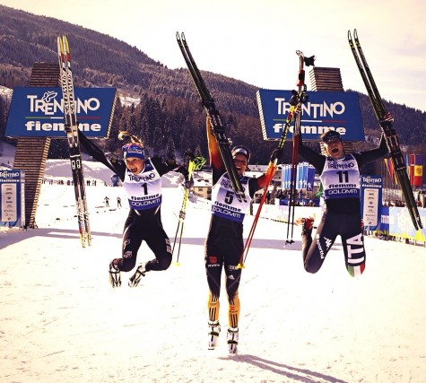 Jumping for joy! The U23 sprint podium: Germany (1), USA (2), Italy (3)