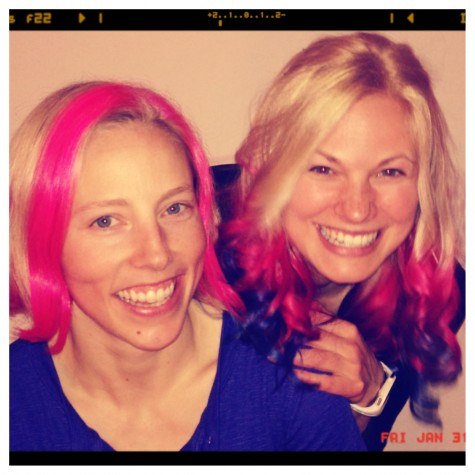Kikkan and I with our bright, bright hair!