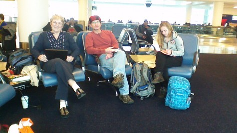 My Grandma, Dad and Sister at the JFK airport waiting to fly to Moscow!