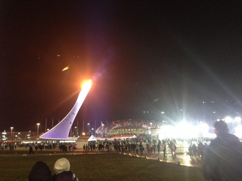 The Olympic Flame across from the stage where they hold the Medals Ceremonies each night.