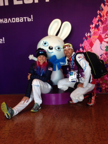 Andy and I with the mascot for the Endurance Village - a little snow bunny!