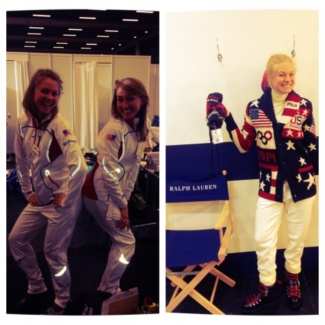 Sadie and Sophie (Sodie when they're together) showing off our warmups, and me in the Opening outfit!