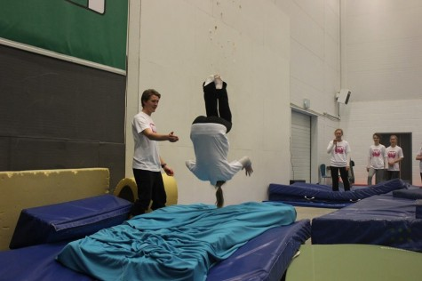 The girls got a spotter if they wanted to try a front flip off the trampoline! (photo by Kikkan)