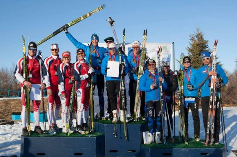 The relay podium - APU 1, SMST2 2, and APU 3 (Fasterskier photo)