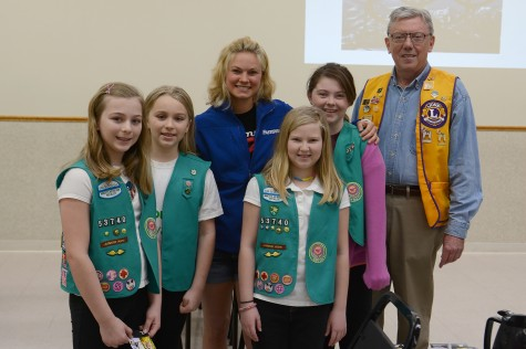 I was escorted into the Lions meeting by the Girl Scouts