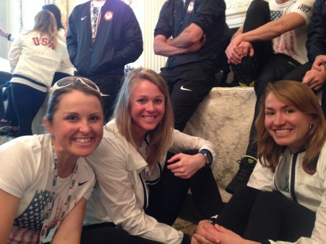 Holly, Sadie and Sophie taking a break in the receiving line to meet the President!