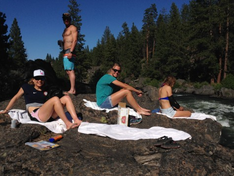 Ida, Andy, Sadie and Sophie at the side of the Deschutes River