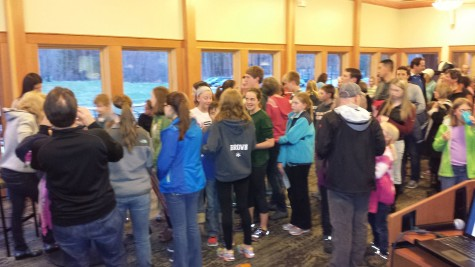 A line up of local skiers waiting for posters!