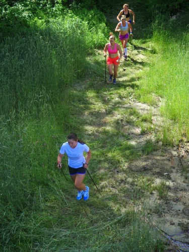 Doing some bounding intervals on the ski trails next to the school (photo from Izzy Caldwell)