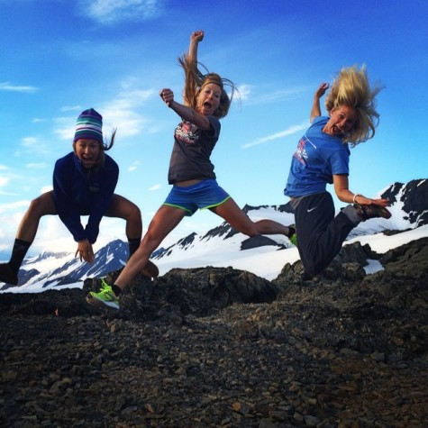 The SMST2 girls loving the glacier! Soph, Erika and me (photo from Sophie)