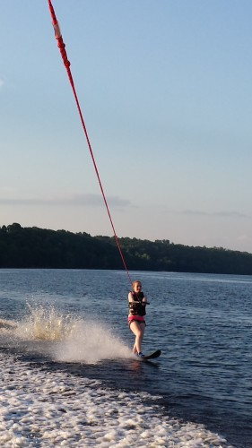 Mackenzie practicing her waterskiing! She's getting really good!