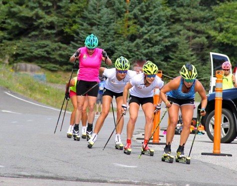Girls rounding the corner during our sprint simulation. Skiing in packs is something I always need to work on! (USSA photo)
