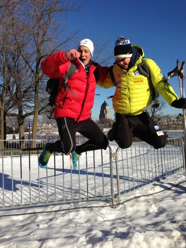 "Skyler and Eric doing ""that girly jumpy photo thing"" in Quebec"