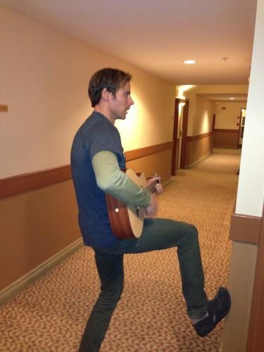 Andy serenading Sylvan when he got sick