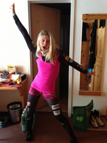 Valentines Day ski outfit (photo from Kikkan)