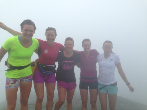Annie P., Anne H., Me, Paige and Katherine on top of Mt. Marcy. Beauty views, eh? (photo by Anne H)