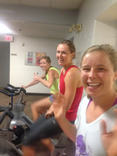 Erika, Annie, Anne and me spinning before our last strength session of LP camp
