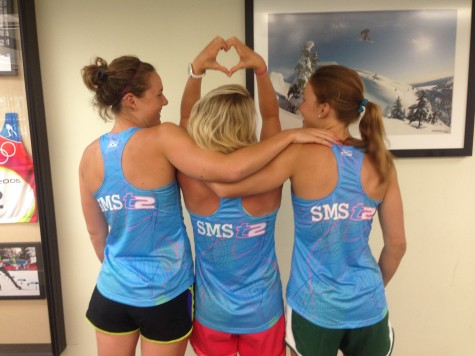 A little teammate love before starting strength...Annie, Me and Sophie