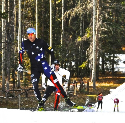 Andy and Ben, sprinting it up and showing off the new race suits for next winter!!! (photo: USSA Nordic)