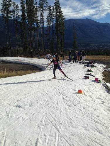 Doing some one-pole drill skiing! (photo by Anne Hart)