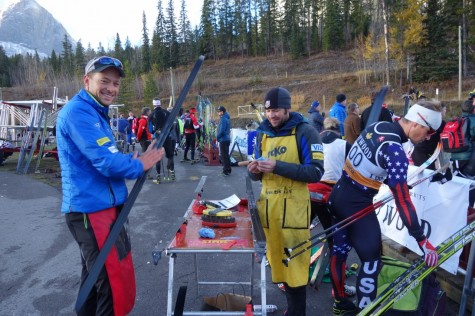 Matt and Jason waxing up our skis for the classic sprint race/time trial (photo by Noah)