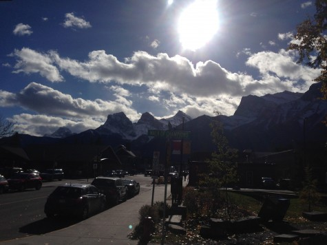 """Coolest street view in Canmore...the sign says """"Walk of Champions"""""""