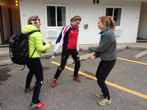 The #Annies and Erika dancing it up to a Taylor Swift song before our time trial.