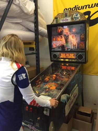 And yes, they do have a pinball machine at the Podiumwear factory. So that's pretty cool.