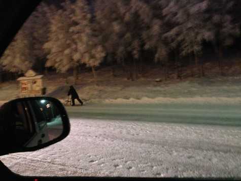 Here's an admittedly creepy shot of a sledder we took out the car window.