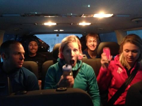 Road trip! Jeff, Andy, Kikkan, Erik and Sadie