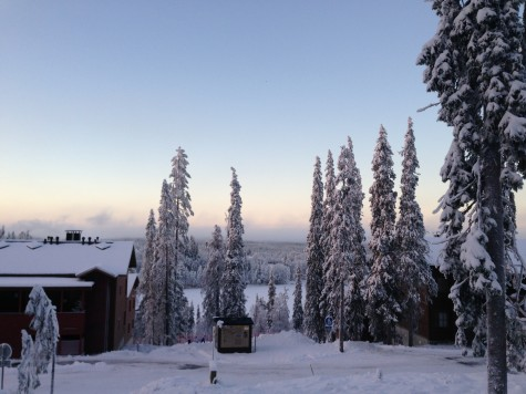 Our room is one of the upstairs ones of the cabin on the left. A photo from a clear day in Ruka!