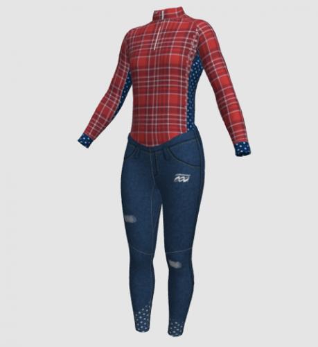 Women's jeans n flannel suit