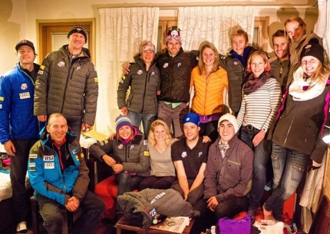 The team celebrating Andy's birthday last week before traveling to Lillehammer