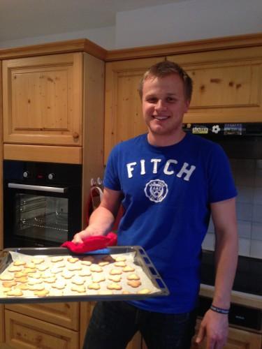 Maurus, one of my friends in town, helped me bake Christmas cookies this week!